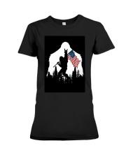 Bigfoot Ammerican flag Premium Fit Ladies Tee thumbnail