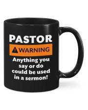 Pastor warning anything you say or do mug Mug front