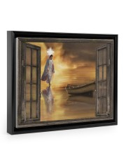 Jesus through the window poster 14x11 Black Floating Framed Canvas Prints thumbnail