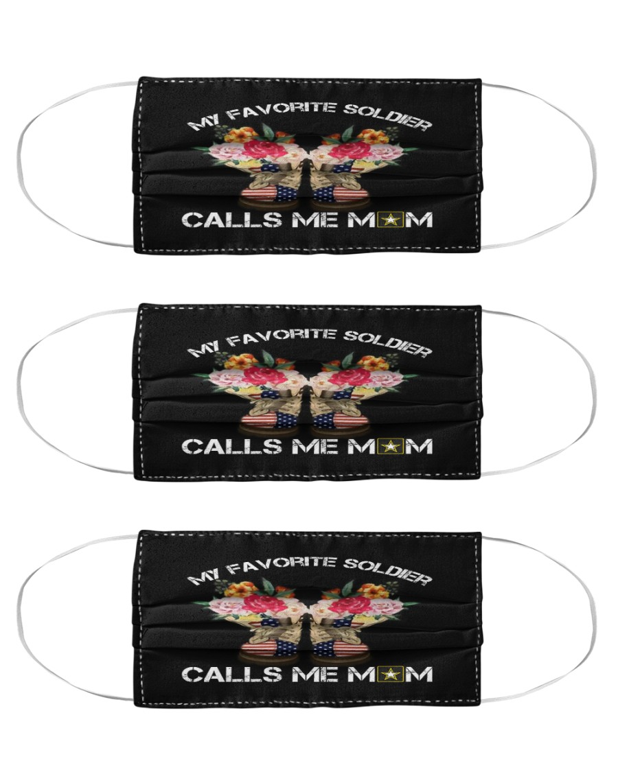 My favorite soldier calls me mom face mask Cloth Face Mask - 3 Pack