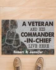 """A veteran and his commander in chief doormat Doormat 22.5"""" x 15""""  aos-doormat-22-5x15-lifestyle-front-02"""
