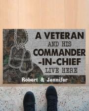 """A veteran and his commander in chief doormat Doormat 22.5"""" x 15""""  aos-doormat-22-5x15-lifestyle-front-10"""