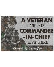 """A veteran and his commander in chief doormat Doormat 22.5"""" x 15""""  front"""