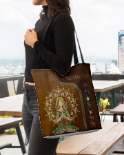 Yoga hippie girl namaste tote bag All-over Tote aos-all-over-tote-lifestyle-front-04