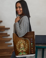 Yoga hippie girl namaste tote bag All-over Tote aos-all-over-tote-lifestyle-front-08