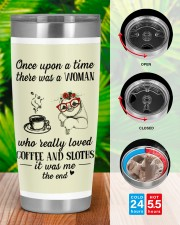 A woman who really loved coffe and sloths tumbler 20oz Tumbler aos-20oz-tumbler-lifestyle-front-46