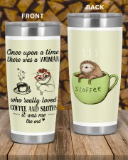 A woman who really loved coffe and sloths tumbler 20oz Tumbler aos-20oz-tumbler-lifestyle-front-58