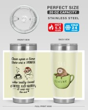 A woman who really loved coffe and sloths tumbler 20oz Tumbler aos-20oz-tumbler-lifestyle-front-60