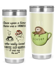 A woman who really loved coffe and sloths tumbler 20oz Tumbler front