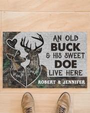 """Deer an old buck his sweet doe live here doormat Doormat 22.5"""" x 15""""  aos-doormat-22-5x15-lifestyle-front-02"""
