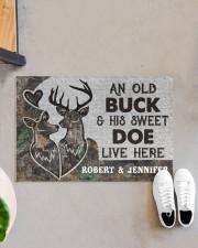 """Deer an old buck his sweet doe live here doormat Doormat 22.5"""" x 15""""  aos-doormat-22-5x15-lifestyle-front-07"""
