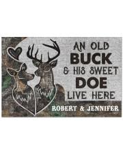 """Deer an old buck his sweet doe live here doormat Doormat 22.5"""" x 15""""  front"""