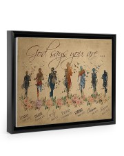 Running woman god says you are poster Floating Framed Canvas Prints Black tile