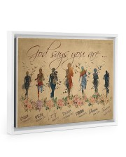 Running woman god says you are poster Floating Framed Canvas Prints White tile