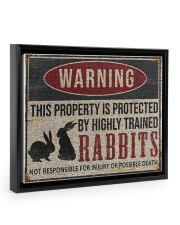 Rabbits warning this property is protected poster 14x11 Black Floating Framed Canvas Prints thumbnail