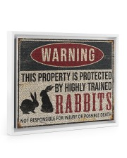 Rabbits warning this property is protected poster 14x11 White Floating Framed Canvas Prints thumbnail