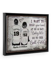 Baseball I want to hold your hand at 80 poster Floating Framed Canvas Prints Black tile