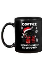 Black cat coffee because murder is wrong mug Mug back