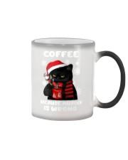 Black cat coffee because murder is wrong mug Color Changing Mug tile
