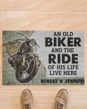 """An old biker and the ride of his life doormat Doormat 22.5"""" x 15""""  aos-doormat-22-5x15-lifestyle-front-02"""