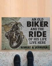 """An old biker and the ride of his life doormat Doormat 22.5"""" x 15""""  aos-doormat-22-5x15-lifestyle-front-10"""