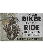 """An old biker and the ride of his life doormat Doormat 22.5"""" x 15""""  front"""