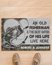 """Fishing an old fisherman doormat Doormat 22.5"""" x 15""""  aos-doormat-22-5x15-lifestyle-front-02"""