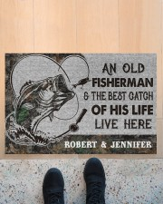 """Fishing an old fisherman doormat Doormat 22.5"""" x 15""""  aos-doormat-22-5x15-lifestyle-front-10"""