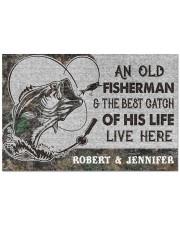"""Fishing an old fisherman doormat Doormat 22.5"""" x 15""""  front"""
