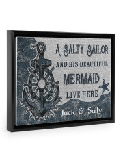 A salty sailor and his beautiful mermaid poster 14x11 Black Floating Framed Canvas Prints thumbnail