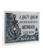 A salty sailor and his beautiful mermaid poster 14x11 White Floating Framed Canvas Prints thumbnail