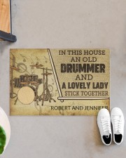 """Drummer and a lovely lady doormat Doormat 22.5"""" x 15""""  aos-doormat-22-5x15-lifestyle-front-07"""