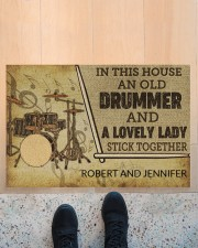"""Drummer and a lovely lady doormat Doormat 22.5"""" x 15""""  aos-doormat-22-5x15-lifestyle-front-10"""