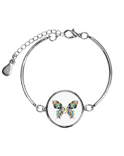 Glowing butterflies Metallic Circle Bracelet thumbnail
