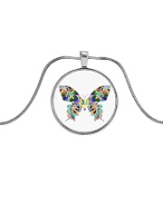 Glowing butterflies Metallic Circle Necklace thumbnail