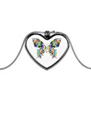 Glowing butterflies Metallic Heart Necklace thumbnail