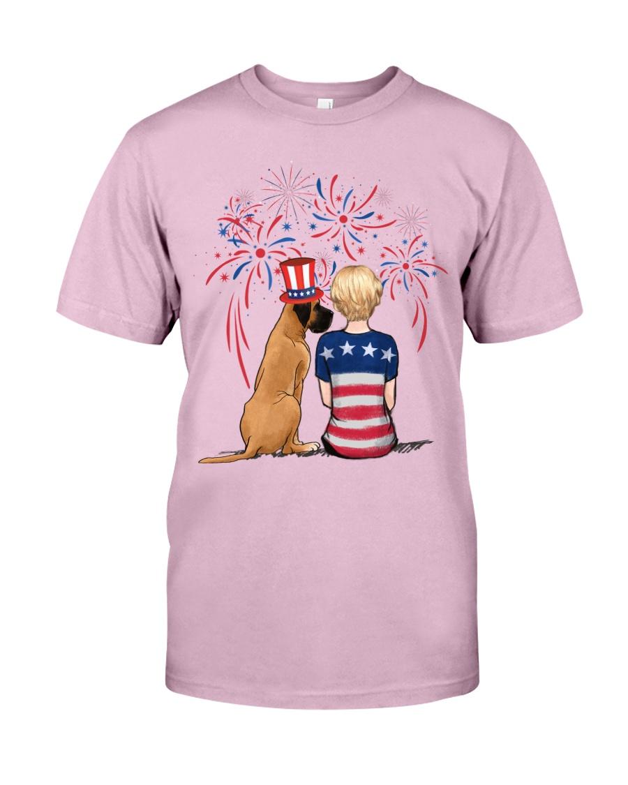Fawn Great Dane Short Blonde Hair Woman 4th July Classic T-Shirt