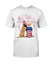 Fawn Great Dane Short Blonde Hair Woman 4th July Premium Fit Mens Tee tile