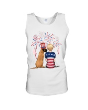 Fawn Great Dane Short Blonde Hair Woman 4th July Unisex Tank thumbnail