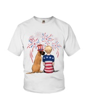 Fawn Great Dane Short Blonde Hair Woman 4th July Youth T-Shirt thumbnail