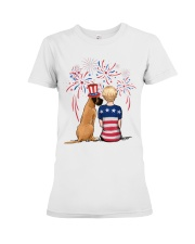 Fawn Great Dane Short Blonde Hair Woman 4th July Premium Fit Ladies Tee thumbnail