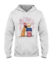 Fawn Great Dane Short Blonde Hair Woman 4th July Hooded Sweatshirt thumbnail