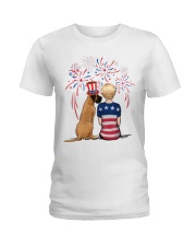 Fawn Great Dane Short Blonde Hair Woman 4th July Ladies T-Shirt tile