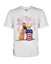 Fawn Great Dane Short Blonde Hair Woman 4th July V-Neck T-Shirt tile