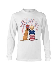 Fawn Great Dane Short Blonde Hair Woman 4th July Long Sleeve Tee thumbnail