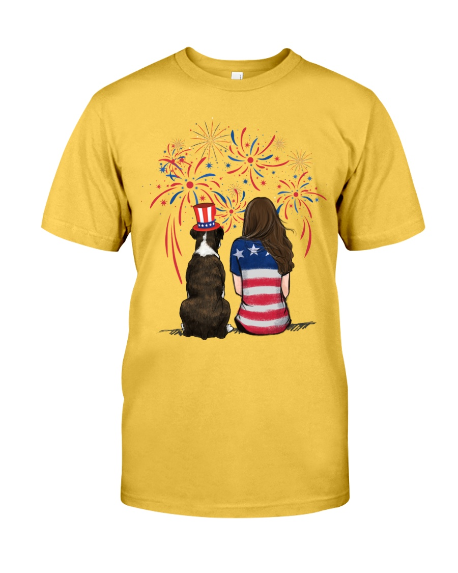 Brindle Boxer Long Brown Hair Woman 4th July Classic T-Shirt