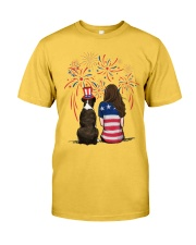 Brindle Boxer Long Brown Hair Woman 4th July Classic T-Shirt front