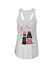 Brindle Boxer Long Brown Hair Woman 4th July Ladies Flowy Tank thumbnail