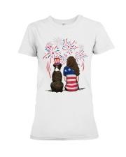 Brindle Boxer Long Brown Hair Woman 4th July Premium Fit Ladies Tee thumbnail