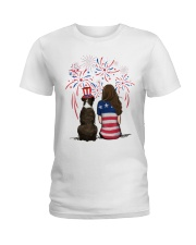 Brindle Boxer Long Brown Hair Woman 4th July Ladies T-Shirt thumbnail